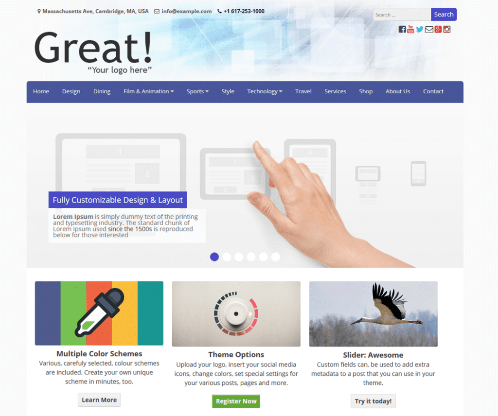GREAT FREE HOLIDAY WORDPRESS THEME