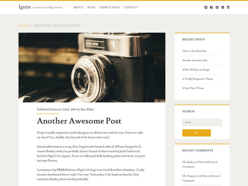 IGNITE FREE WORDPRESS THEME FOR BLOG WEBSITE