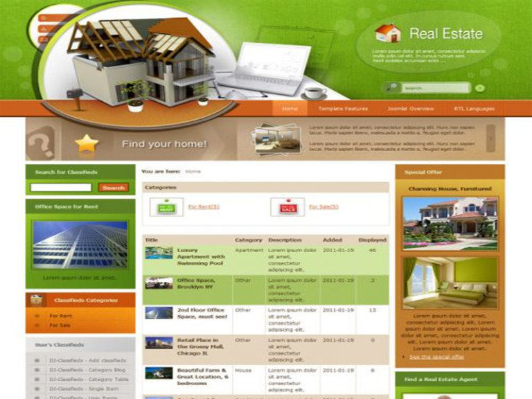 JM REAL ESTATE CLASSIFIEDS FREE BUSINESS JOOMLA TEMPLATE