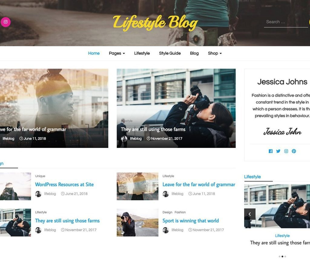 LIFESTYLE BLOG FREE BLOG WORDPRESS THEME