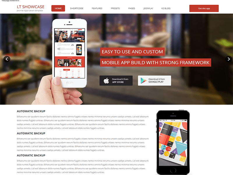 LT APP SHOWCASE ONE PAGE JOOMLA TEMPLATE