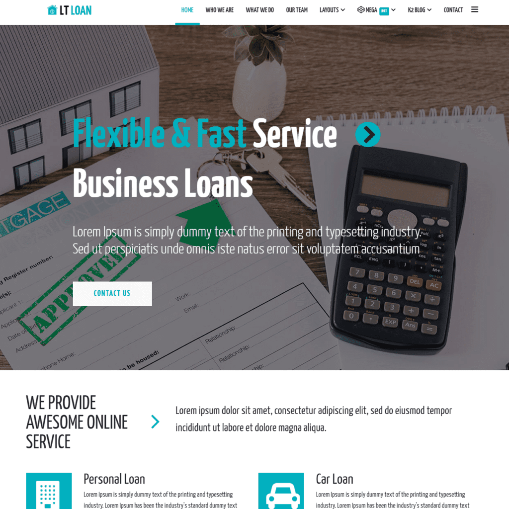 LT LOAN FREE JOOMLA LOAN WEBSITE TEMPLATE