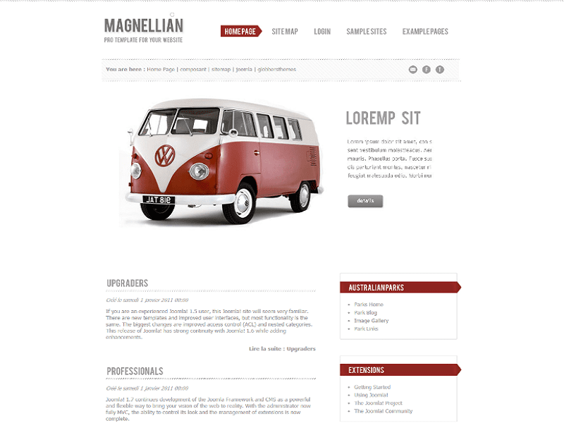 MAGNELLIAN – FREE JOOMLA 1.7 TEMPLATE FOR CARS