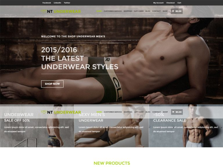 NT UNDERWEAR FREE WORDPRESS THEME FOR FASHION STORE