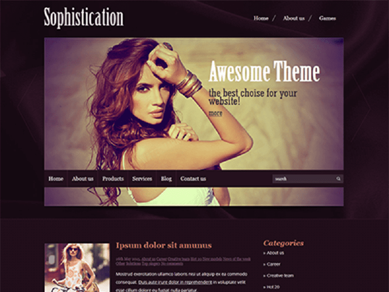SOPHISTICATION – FREE WORDPRESS THEME FOR FASHION