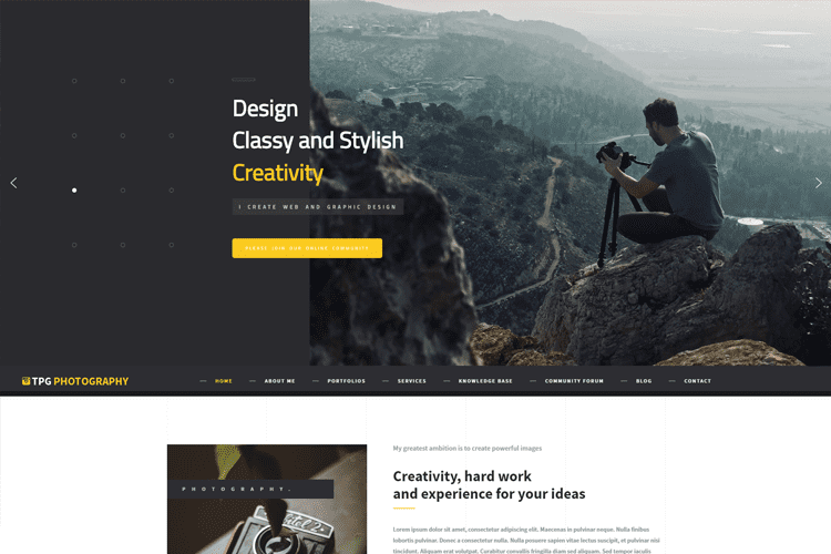 TPG PHOTOGRAPHY – BEAUTIFUL WORDPRESS PHOTO GALLERY THEME