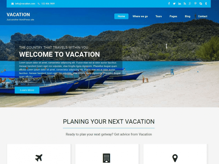 VACATION LITE FREE HOLIDAY WORDPRESS THEME