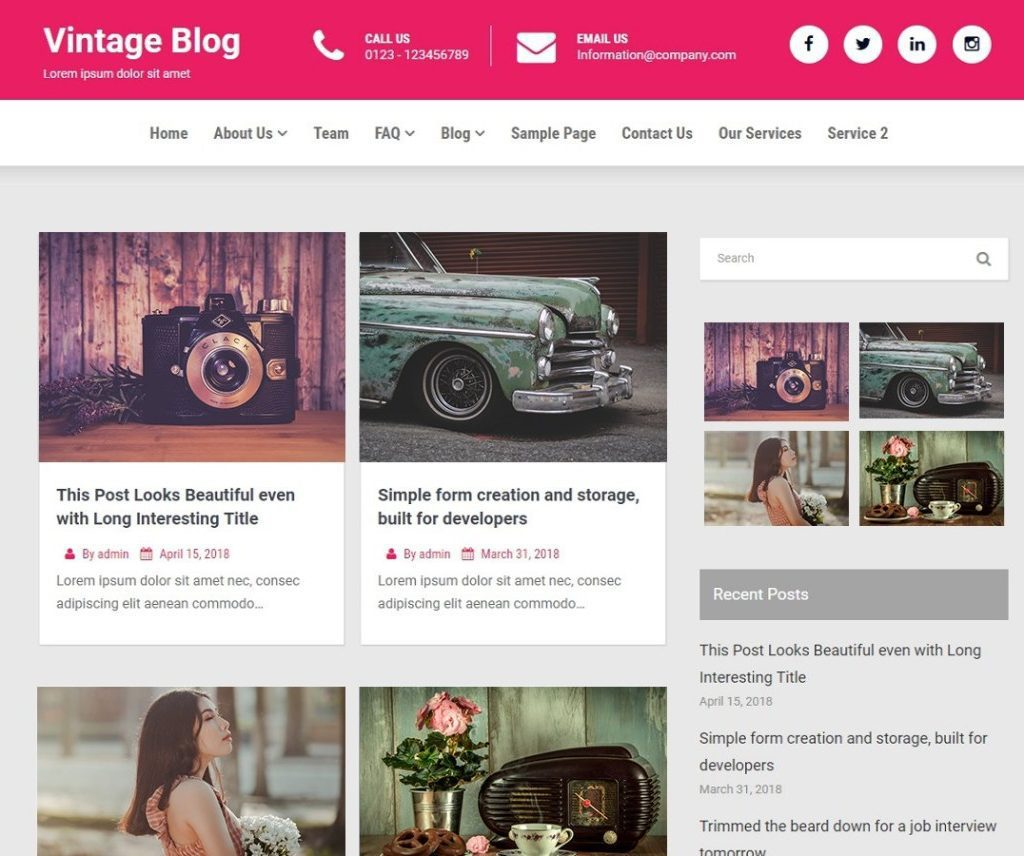 VINTAGE BLOG FREE NEWS WORDPRESS THEME