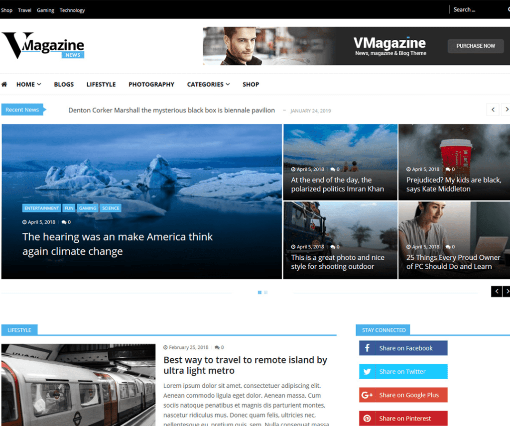 VMAGAZINE NEWS FREE BLOG WORDPRESS THEME
