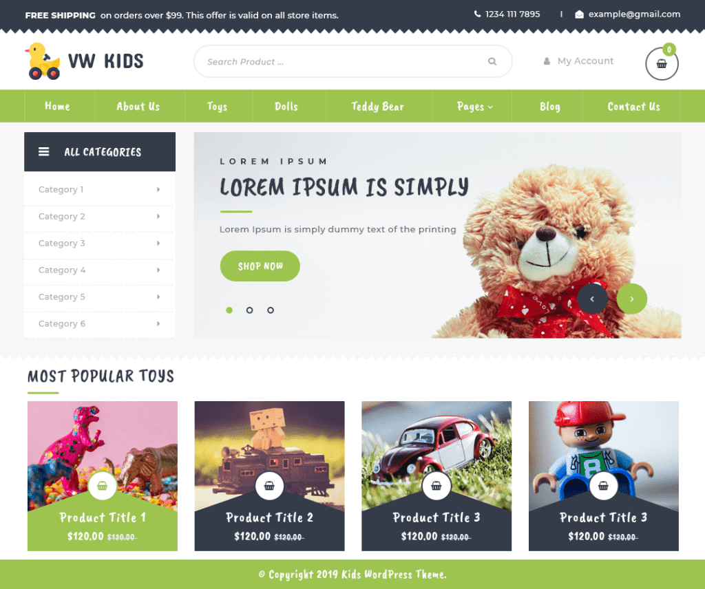 VW KIDS FREE ECOMMERCE WORDPRESS THEME