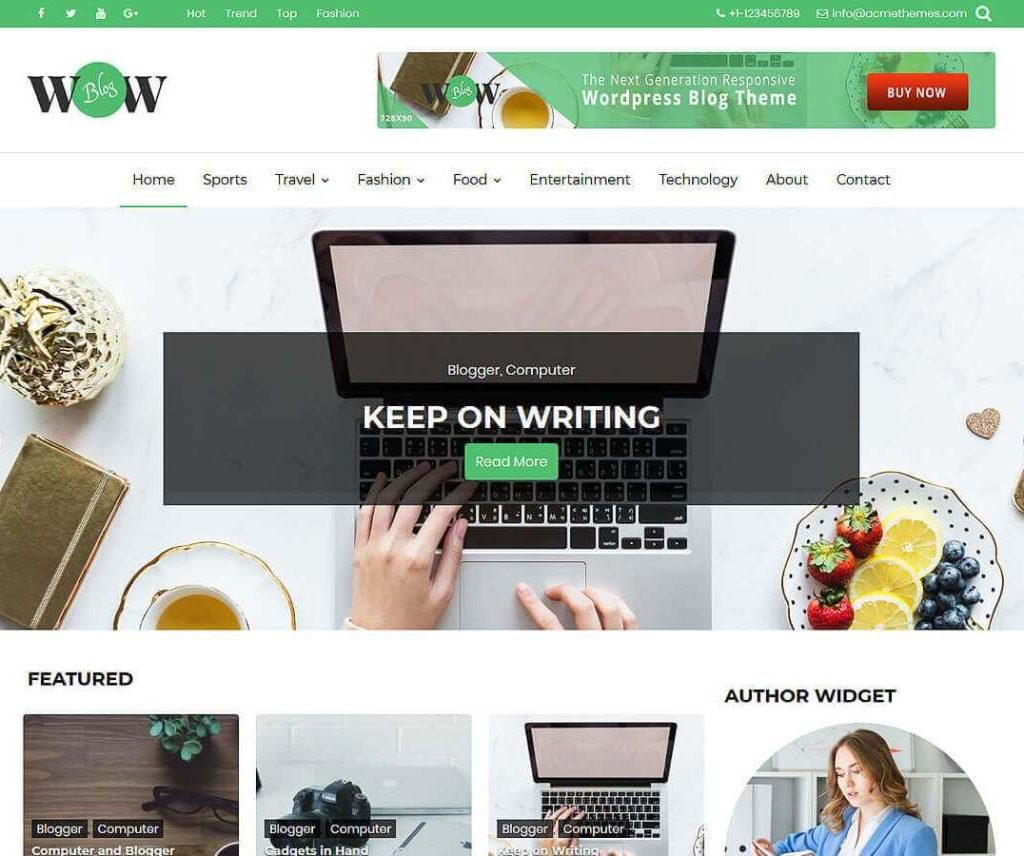 WOW BLOG FREE WORDPRESS PORTFOLIO THEME
