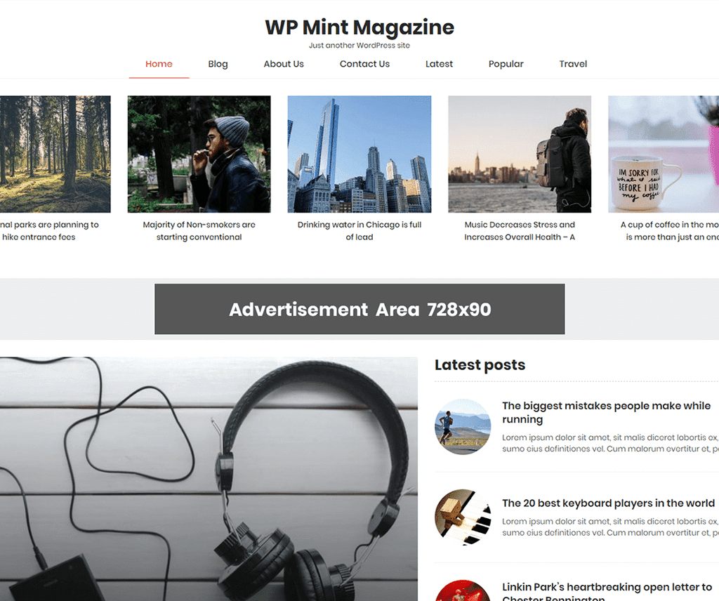 WP MINT MAGAZINE FREE PHOTOGRAPHY WORDPRESS THEME