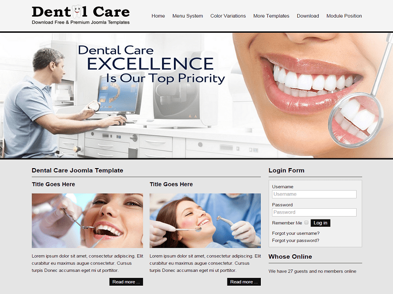 JSR CARE – FREE DENTAL JOOMLA TEMPLATE