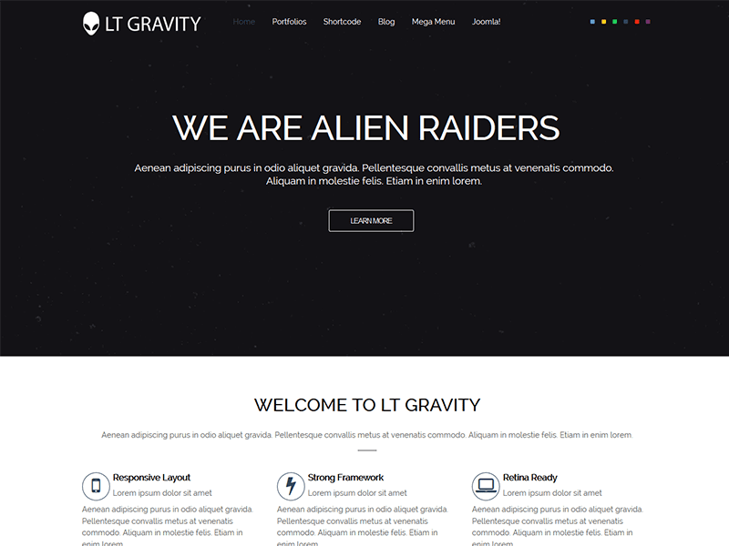 LT GRAVITY ONE PAGE JOOMLA TEMPLATE