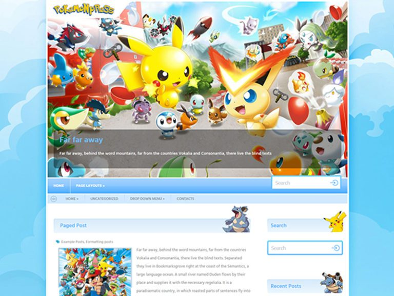 POKEMONPRESS FREE WORDPRESS GAME THEME