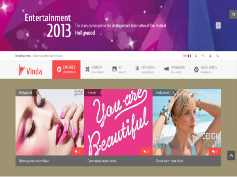 VINDA – JOOMLA ENTERTAINMENT TEMPLATE FREE