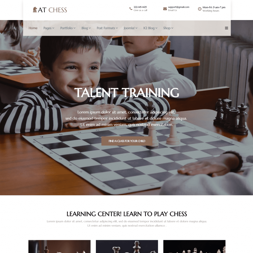 AT CHESS FREE JOOMLA CHESS TEMPLATE