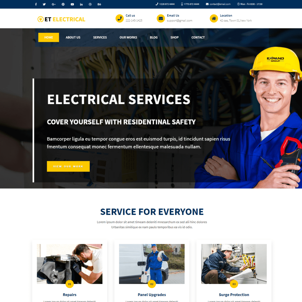 ET ELECTRICAL FREE JOOMLA ELECTRICAL WEBSITE TEMPLATE