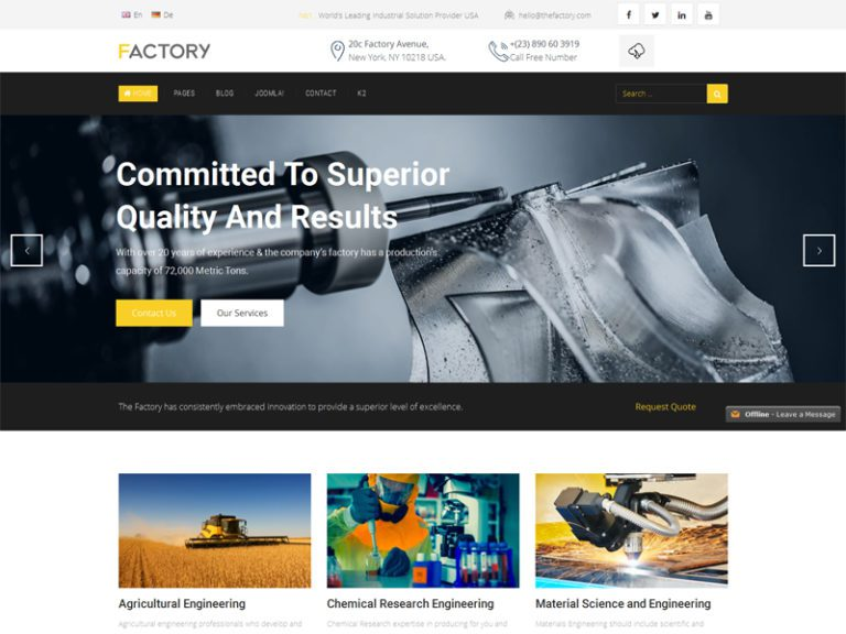 FACTORY FREE RESPONSIVE INDUSTRIAL BUSINESS JOOMLA TEMPLATE