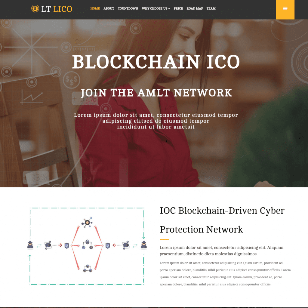 LT LICO ONEPAGE FREE SINGLE PAGE RESPONSIVE CRYPTOCURRENCY WEBSITE TEMPLATE