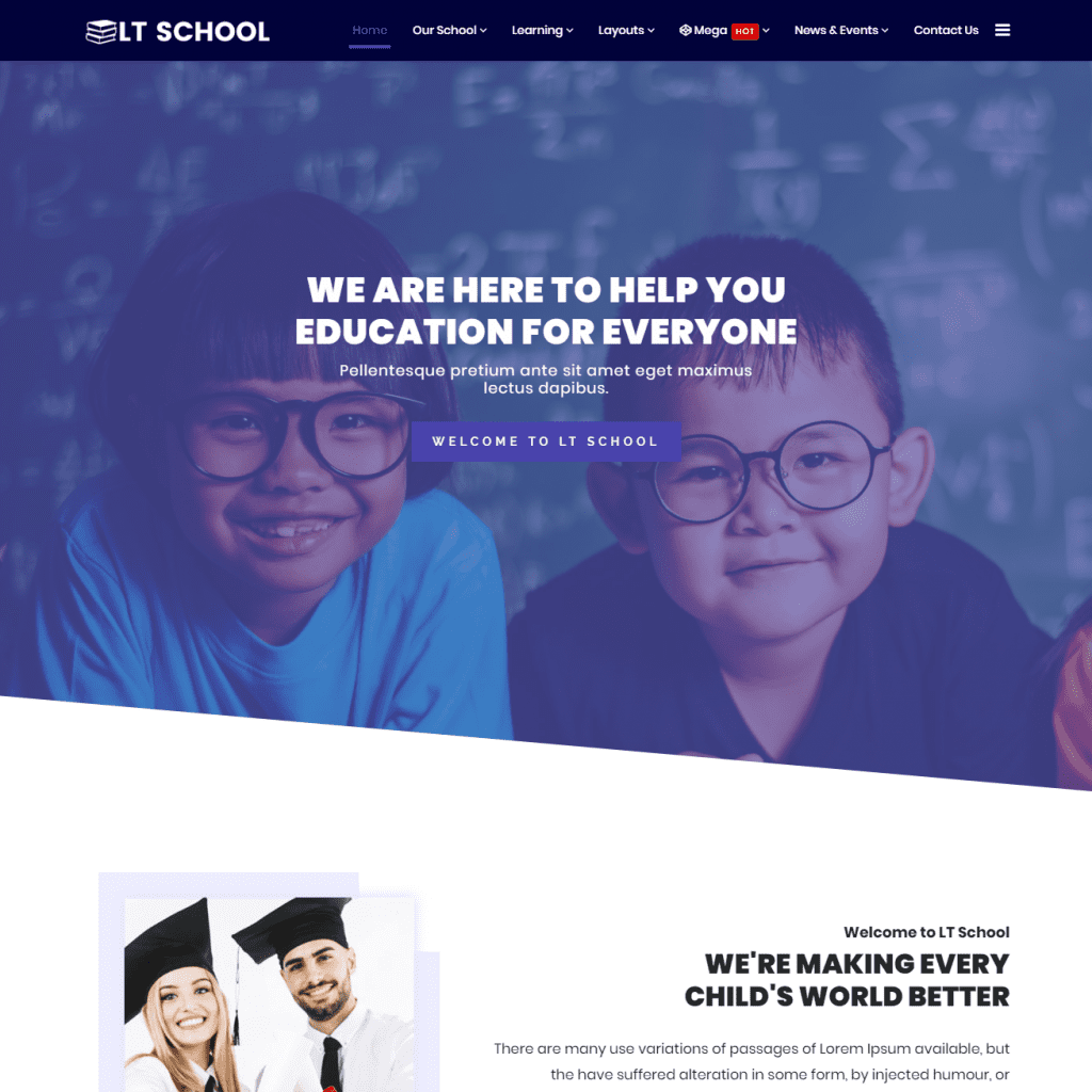 LT SCHOOL ONEPAGE FREE WORDPRESS THEME FOR EDUCATIONAL