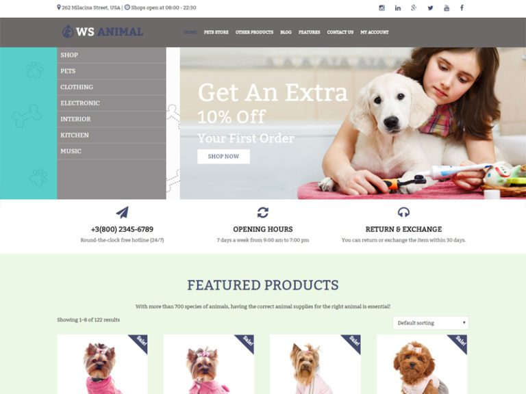 WS ANIMAL FREE WORDPRESS WOOCOMMERCE THEME FOR PET STORE