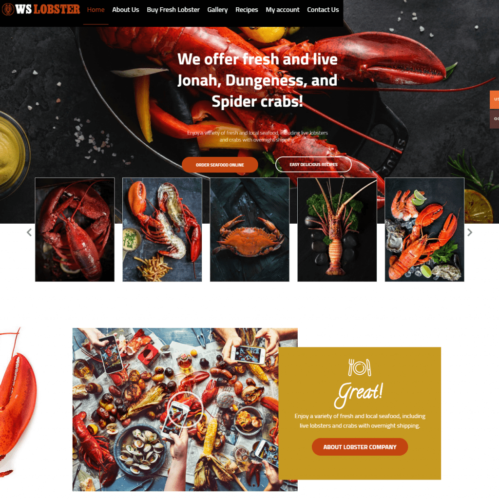 WS LOBSTER HIGH QUALITY BEST RESTAURANT WORDPRESS THEMES