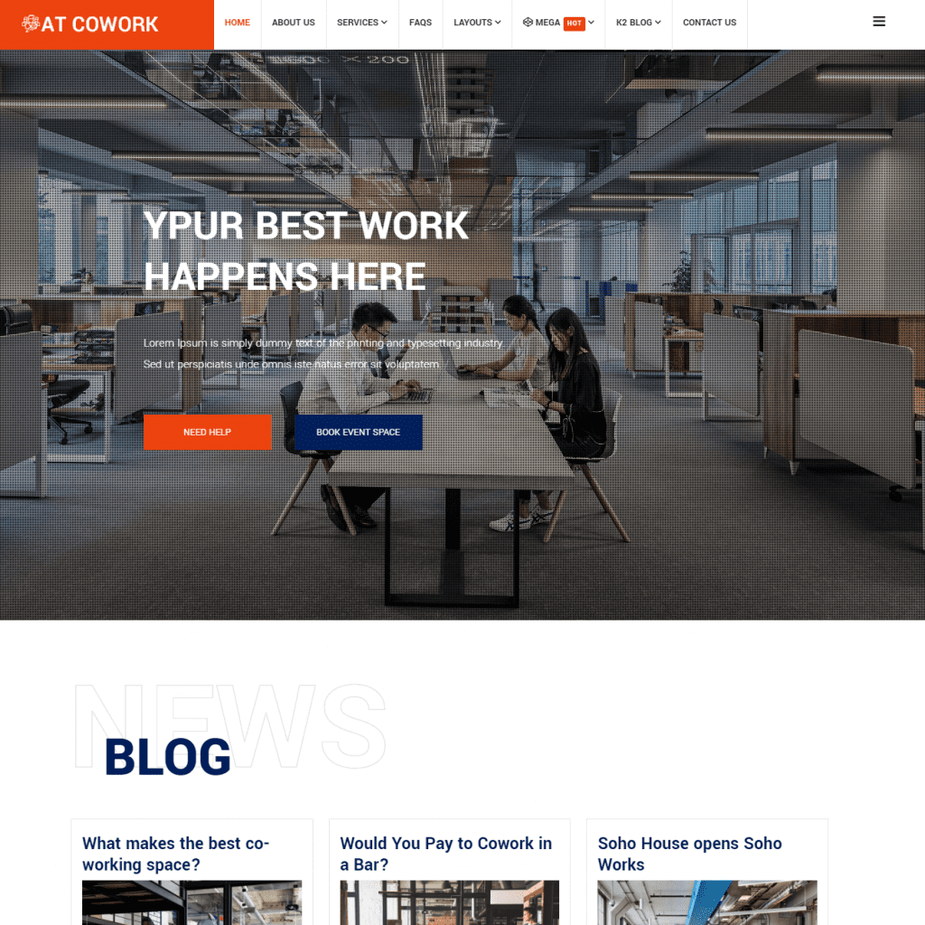 AT COWORK MODERN COWORKING SPACE WEBSITE TEMPLATE
