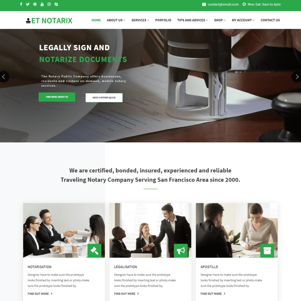 ET NOTARIX PROFESSIONAL LEGAL WORDPRESS THEMES