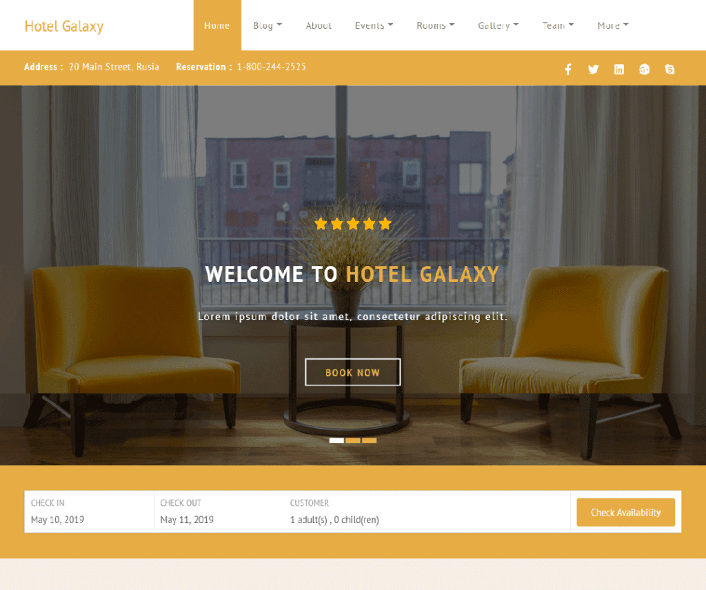 HOTEL GALAXY FREE ENTERTAINMENT WORDPRESS THEME