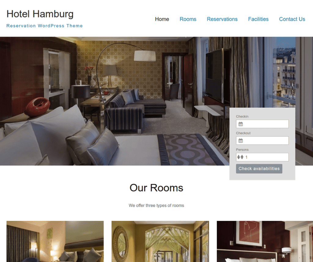 HOTEL HAMBURG FREE HOLIDAY WORDPRESS THEME
