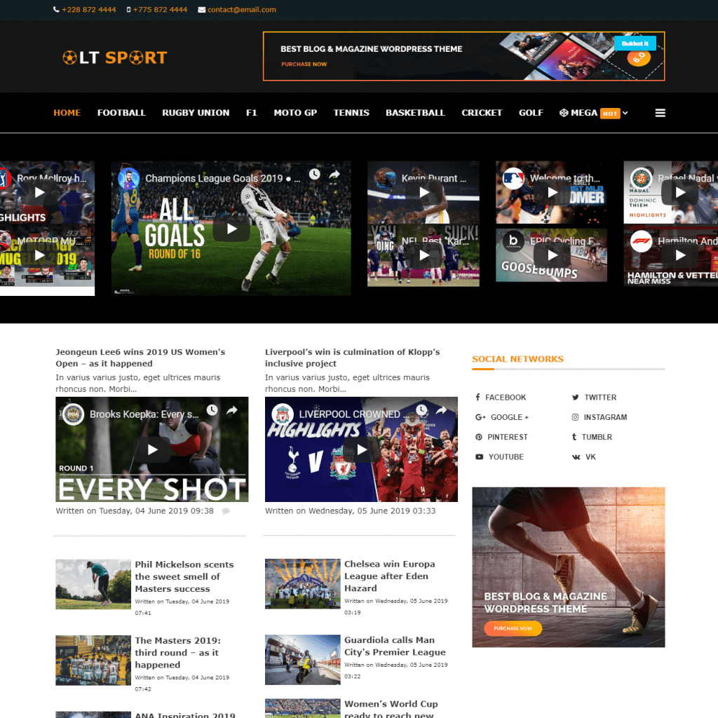 LT SPORT FREE SPORTS NEWS JOOMLA TEMPLATE