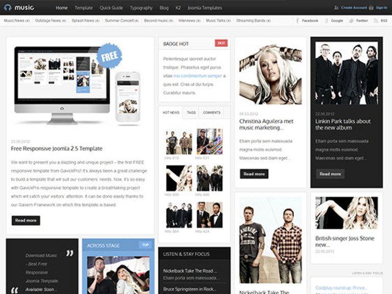 MUSIC FREE ENTERTAINMENT JOOMLA TEMPLATE