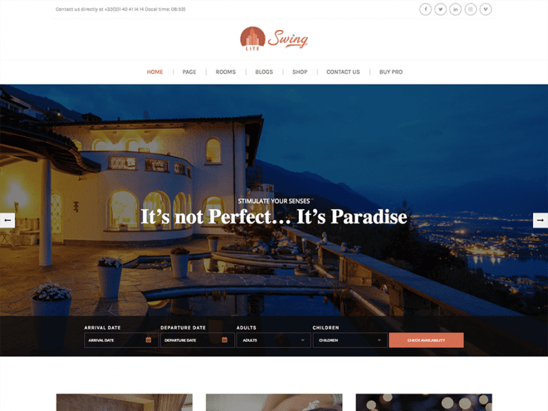 SWING LITE FREE HOLIDAY WORDPRESS THEME