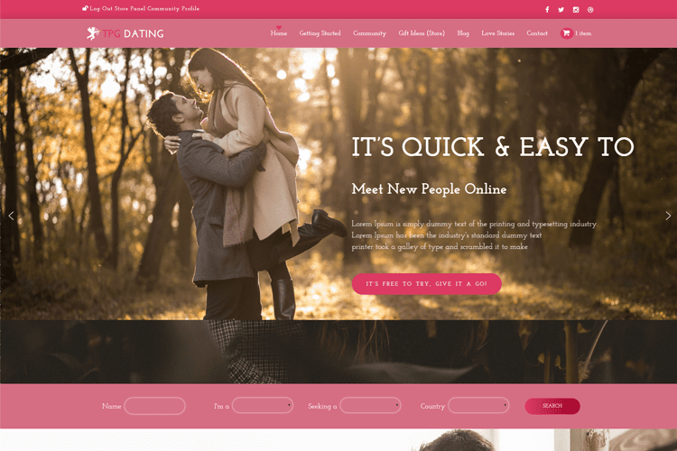TPG DATING FREE WORDPRESS THEME