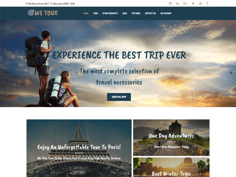 WS TOUR FREE RESPONSIVE TRAVEL BOOKING WOOCOMMERCE WORDPRESS THEME