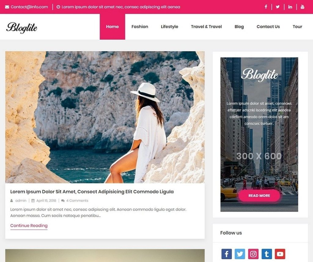 BLOGLITE FREE NEWS WORDPRESS THEME