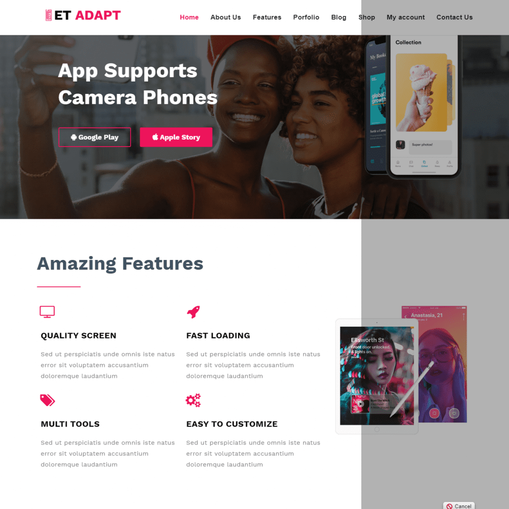ET ADAPT PROFESSIONAL APP SHOWCASE WORDPRESS THEME