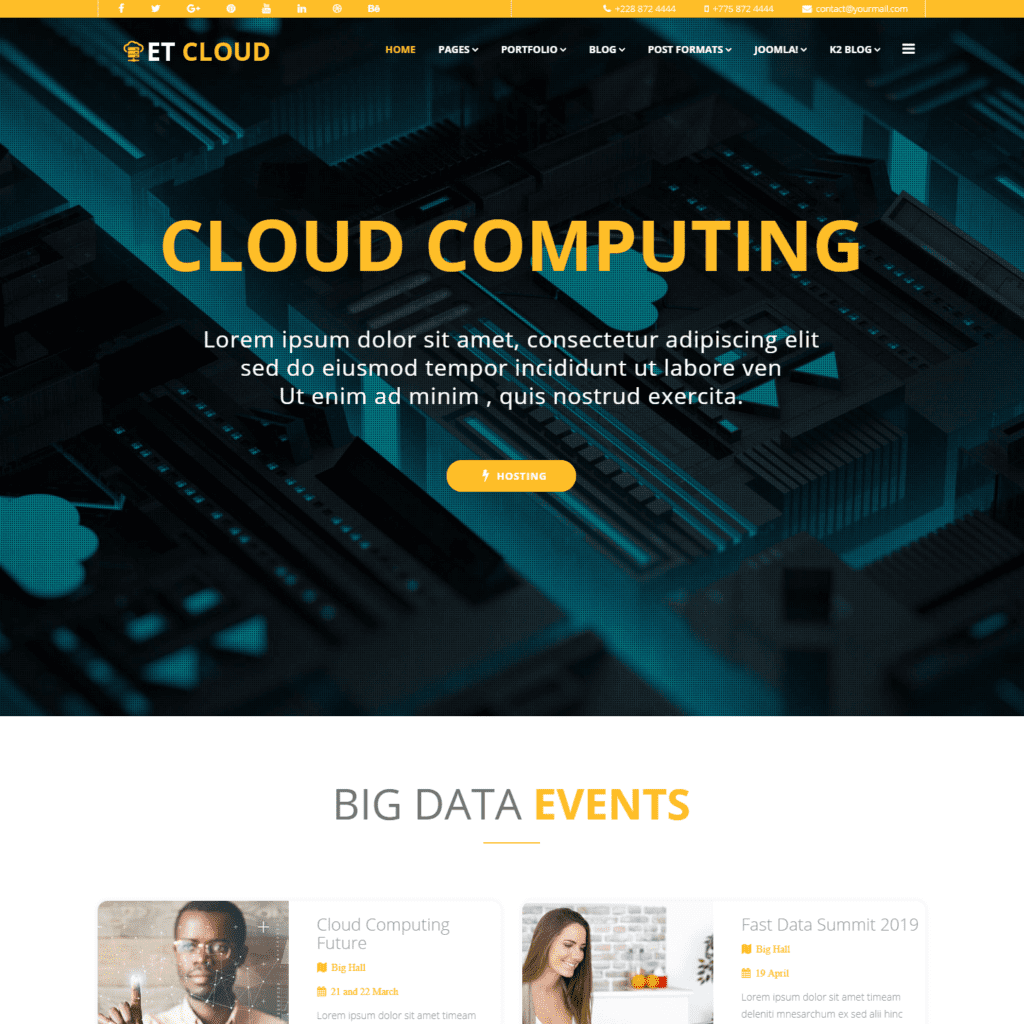 ET CLOUD FREE JOOMLA HOSTING TEMPLATE