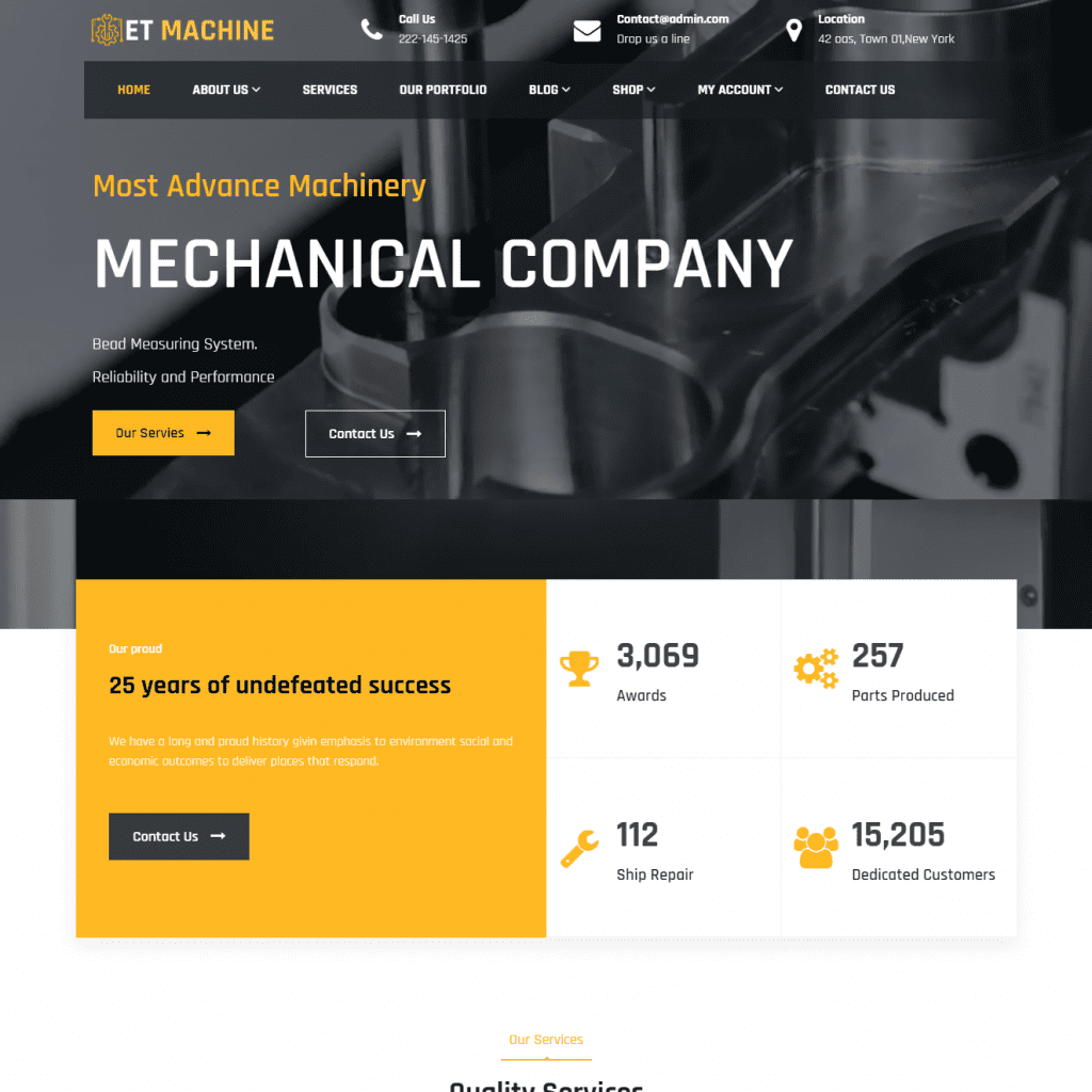 ET MACHINE RESPONSIVE INDUSTRIAL WORDPRESS THEME
