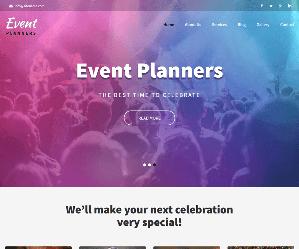 EVENT PLANNERS FREE ENTERTAINMENT WORDPRESS THEME