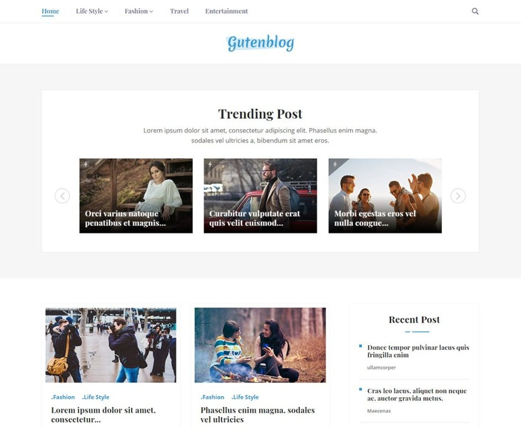 GUTENBLOG FREE NEWS WORDPRESS THEME