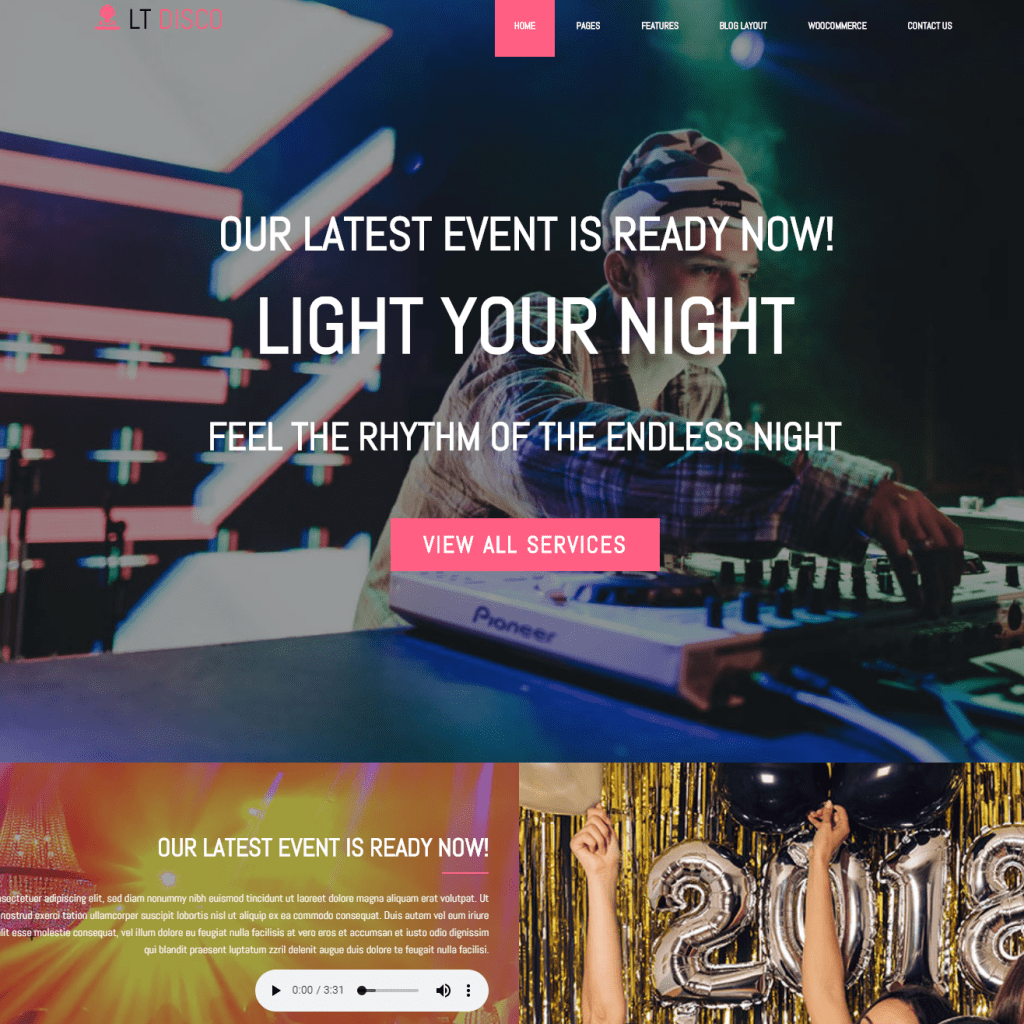 LT DISCO FREE ONE PAGE NIGHTCLUB WORDPRESS THEME