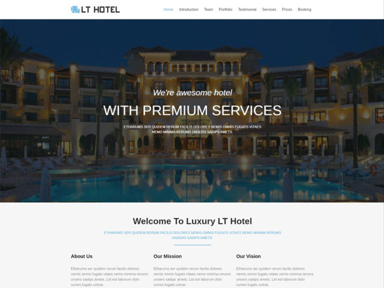 LT HOTEL ONEPAGE FREE WORDPRESS THEME FOR HOTEL