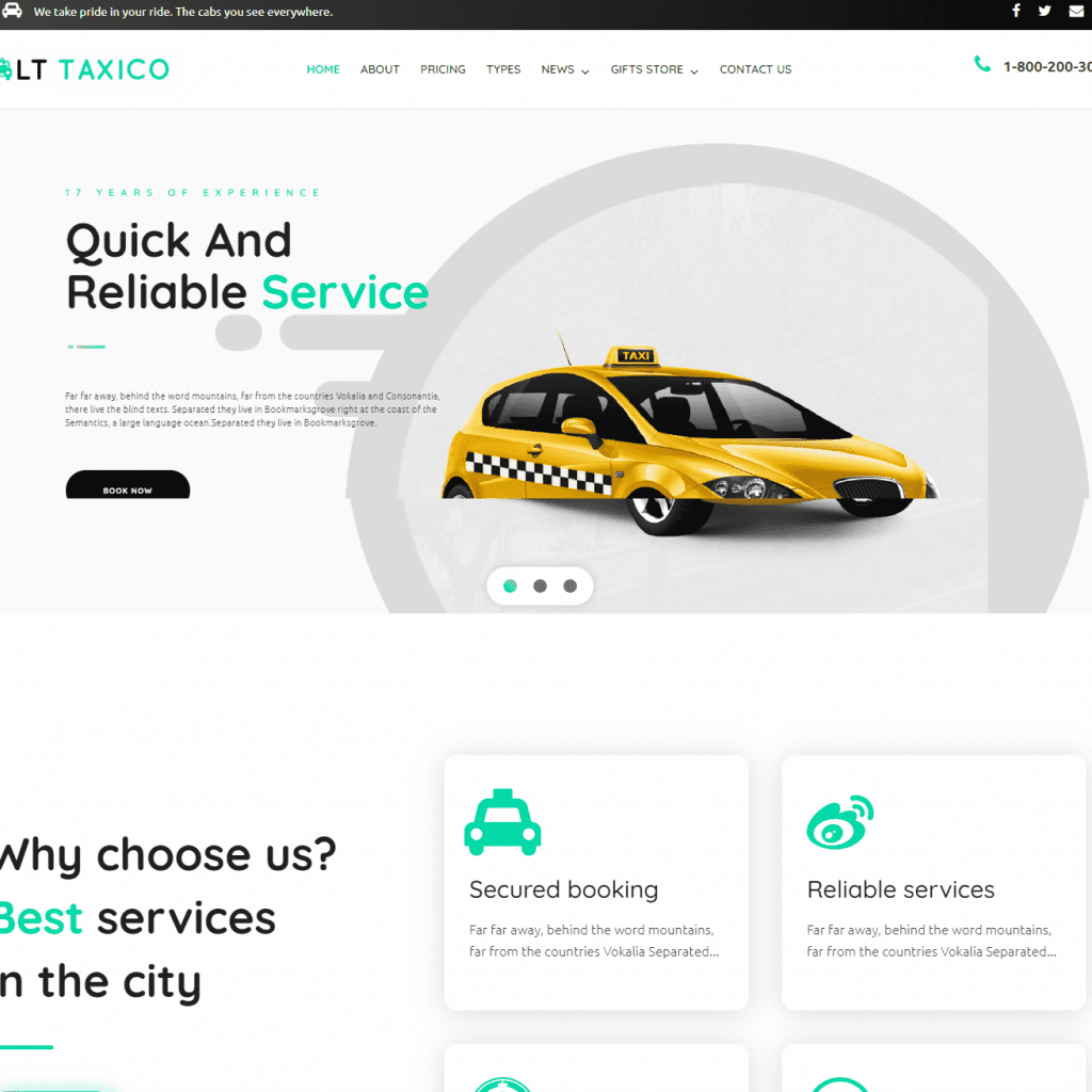 LT TAXICO FREE TAXI BOOKING WORDPRESS THEME