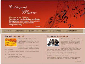college of music template free website