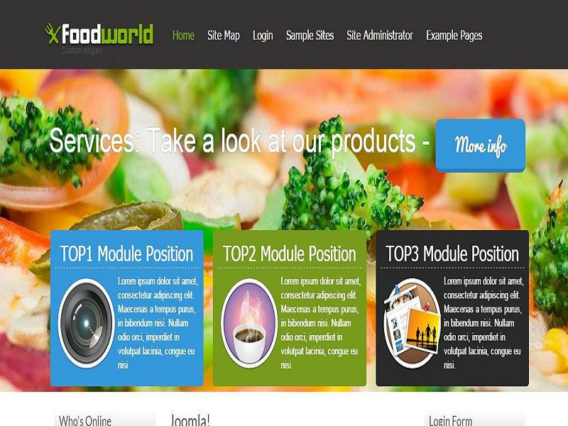 food world free joomla template for the restaurant