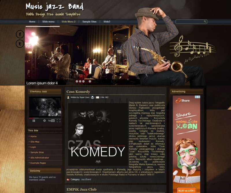 Free Joomla Template Music Band