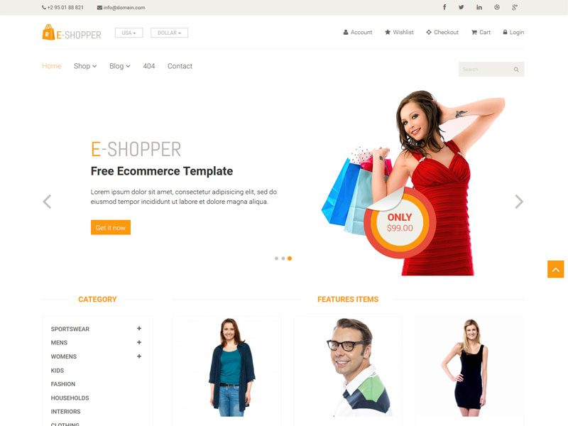 E-Shopper Free eCommerce HTML Template