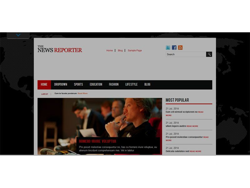 The News Reporter Free Magazine Html Site Template - Html site template